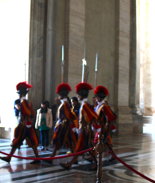 Swiss Guards marching along...