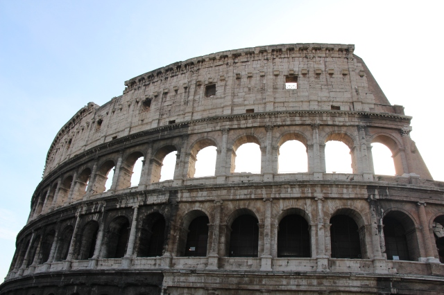 The Colosseum, the largest elliptical ampitheater built in ancient Rome. It was originally called the Flavian Ampitheater after the name of a couple of the emperors who had it built.
