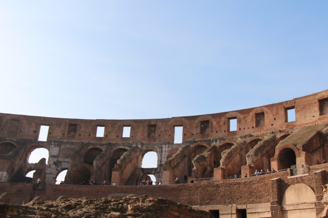 Inside the Colosseum... In addition to it's more famous uses (gladitorial contests and animal hunts, most gruesomely), did you know that in the medieval times, it was used for housing, workshops, a religious order, a fortress, and a religious shrine? Yeah, me either...