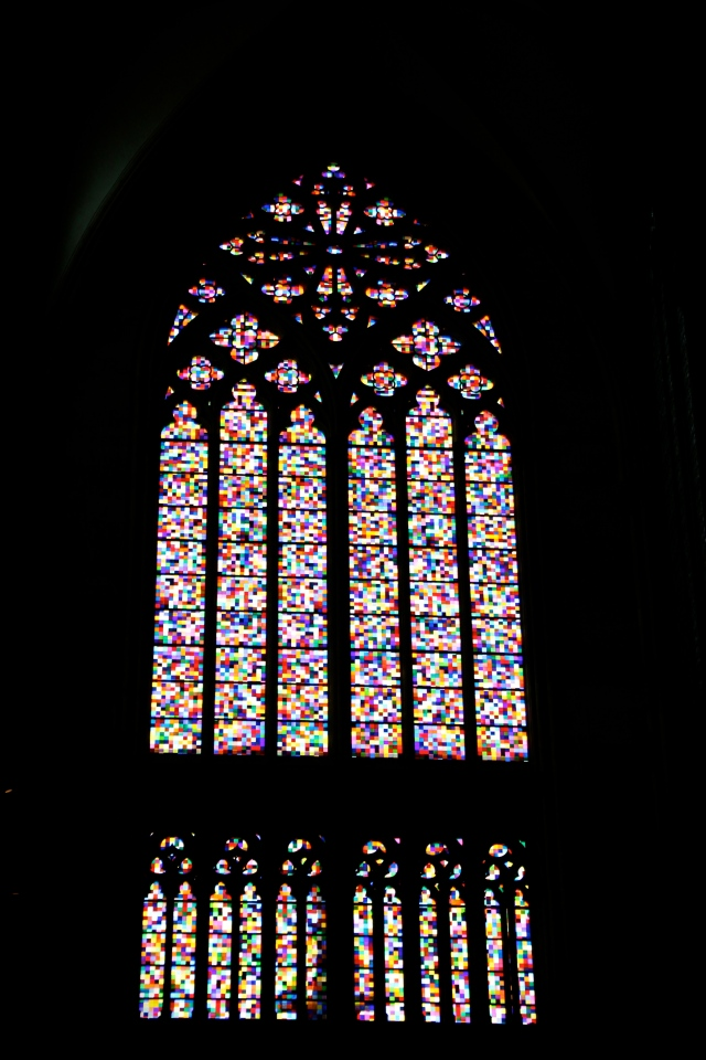 I thought this was so far beyond gorgeous... It is the newest window in the Dom, having been installed in 2007 as a replacement for a window that was a casualty of war. Interestingly, the cathedral's archbishop refused to attend the dedication of the window in protest because he wanted a window design to reflect 20th century Catholic martyrs.