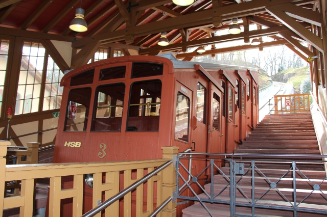 "Previously, we had used the funicular only to get to the castle. I decided to take a walk in the woods on top of the mountain, so I took the ""historical"" part of the railway. Over 100 years old, folks, with all the creaks and rattles to prove it!"